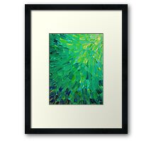 SEA SCALES in GREEN - Bright Green Ocean Waves Beach Mermaid Fins Scales Abstract Acrylic Painting Framed Print