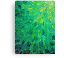 SEA SCALES in GREEN - Bright Green Ocean Waves Beach Mermaid Fins Scales Abstract Acrylic Painting Canvas Print