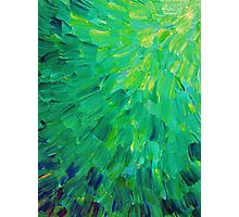 SEA SCALES in GREEN - Bright Green Ocean Waves Beach Mermaid Fins Scales Abstract Acrylic Painting Photographic Print