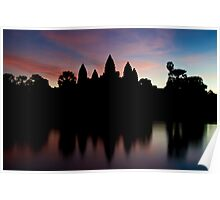 Angkor Wat temples at sunrise Poster