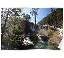 Front view of Jiuzhaigou waterfall Poster