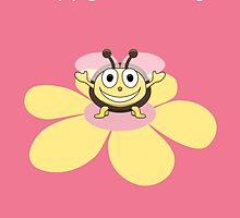 Happy Cartoon Bee on Flower Birthday Card by Boriana Giormova