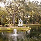 Fountain in Lake by Gazebo by dbvirago