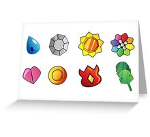 Kanto Gym Badges Greeting Card