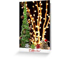 Santa Mouse and Christmas Tree Vintage Rustic  Greeting Card