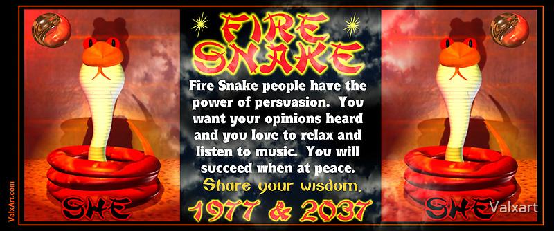 1977 2037 Chinese zodiac fire snake  by Valxart