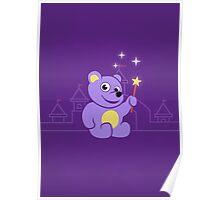 Purple Cartoon Teddy Bear Fairy Poster