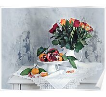 Still life with red pomegranate, orange tangerines and roses Poster