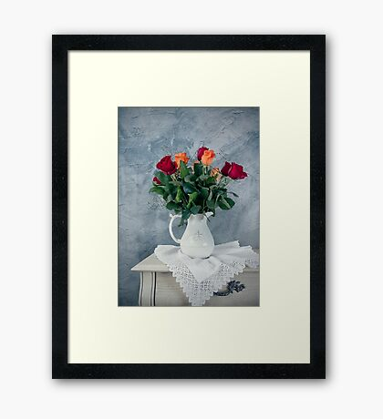 rose flowers in old-fashioned flower pot Framed Print