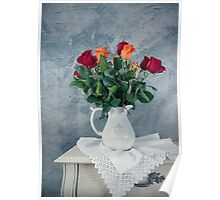 rose flowers in old-fashioned flower pot Poster