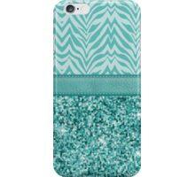 Glitzy Teal Zebra Pattern iPhone Case/Skin