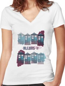 Allons~y!! Women's Fitted V-Neck T-Shirt
