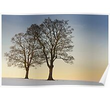Ringinglow Road, Sheffield - Snowy Sunset Poster