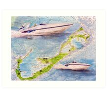 Sonic Racing Boat Bermuda Islands Nautical Map Cathy Peek Art Print