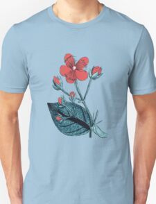 Flower, Petals, Leaves - Green Red T-Shirt