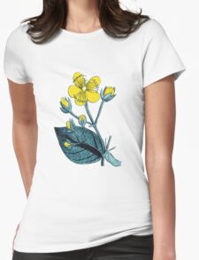 Flower, Petals, Leaves - Green Yellow Womens Fitted T-Shirt