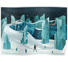 The wanderer and the ice forest Poster