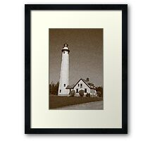 Lighthouse with Sponge Painting Effect Framed Print