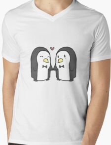 Penguin Couple Mens V-Neck T-Shirt