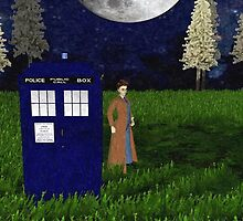 dr who david tennant ouside tardis oil painting by LokiLaufeysen