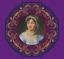 Jane Austen Portrait in Gold Frame by frogcreek