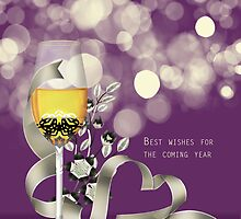 Purple and Cream Birthday Greeting Card With Bokeh by Moonlake