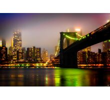 Misty Evening By The Brooklyn Bridge Photographic Print
