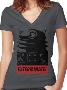 EXTERMINATE!!! Women's Fitted V-Neck T-Shirt