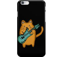 guitar cat orange and teal iPhone Case/Skin