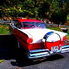 Red & White Car at Natural Bridge by tanya breese