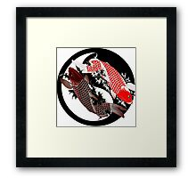 Koi Carp - Ying and Yang - Tattoo Style Framed Print