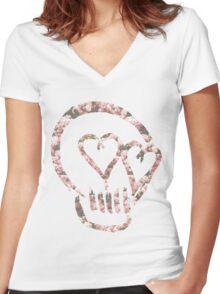 5sos Skull flowers Women's Fitted V-Neck T-Shirt
