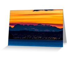 Sunset over Anacortes and the Olympic Mountains Greeting Card