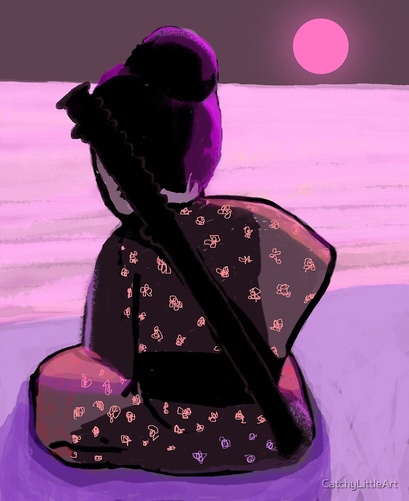 Lonely samurai and moonlight by CatchyLittleArt