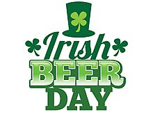 Irish Beer day St Patricks day design with top hat and shamrocks Photographic Print
