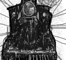 creepy dark locomotive train at night by TIA KNIGHT Sticker