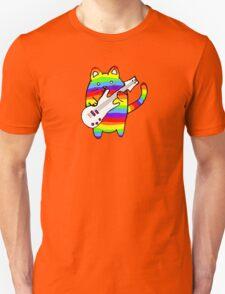 rainbow cat with bass guitar Unisex T-Shirt