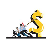 Office Workers Pulling Down Dollar  by patrimonio