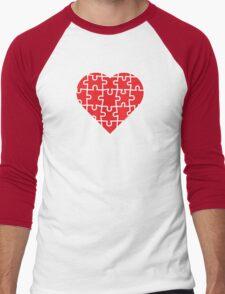 Puzzle Heart Men's Baseball ¾ T-Shirt