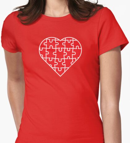Puzzle Heart Womens Fitted T-Shirt