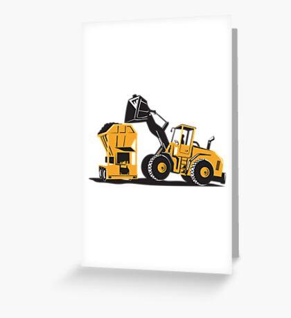 Front End Loader Digger Excavator Retro  Greeting Card