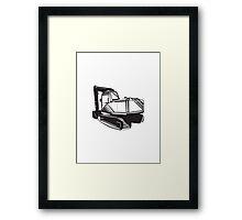 Mechanical Digger Excavator Retro  Framed Print