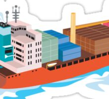 Container Ship Cargo Boat Retro  Sticker