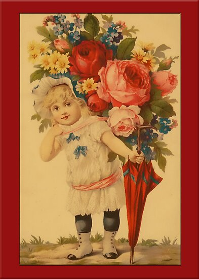 Valentine-Girl with Flowers by Yesteryears