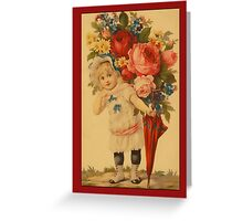 Valentine-Girl with Flowers Greeting Card