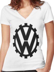 WW2 VW Logo Women's Fitted V-Neck T-Shirt
