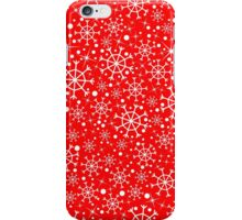 Red pattern with snowflakes iPhone Case/Skin