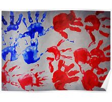american flag handprints 3 Poster