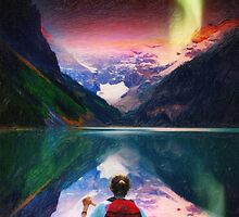 canoeing in banff under northern light art by Adam Asar