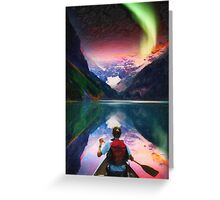 canoeing in banff under northern light art2 Greeting Card